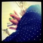 polka dots and green nails